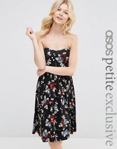 Платье-бандо миди с цветочным принтом ASOS PETITE - Мульти