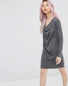 Цельнокройное платье со свободным воротом Ganni - Черный