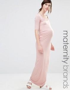 Трикотажное платье макси для беременных Bluebelle Maternity - Розовый