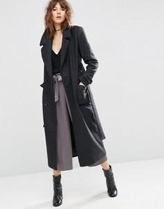 Полушерстяное пальто миди с завязкой на поясе ASOS - Серый