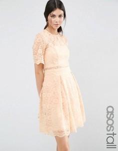 Кружевное платье мини для выпускного ASOS TALL - Розовый