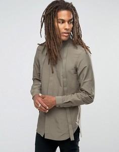 Рубашка хаки классического кроя в стиле милитари с длинными рукавами ASOS - Зеленый