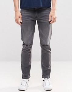 Выбеленные черные джинсы скинни с прорехами ASOS - Черный