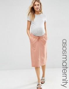 Трикотажная юбка для беременных в стиле casual со шнурком ASOS Maternity - Розовый