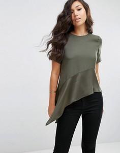 Матовая футболка с асимметричным краем и блестящей вставкой ASOS - Зеленый
