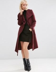 Пальто-трапеция с драпировкой с добавлением шерсти ASOS - Красный