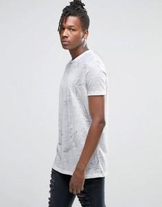 Удлиненная футболка в льняном стиле с неброским цветочным принтом ASOS - Белый