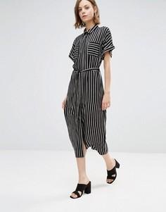 Платье-рубашка миди в полоску Style London - Черный