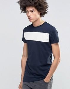 Асимметричная футболка с контрастной вставкой Kubban Denim - Темно-синий