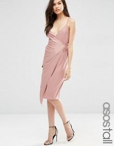 Платье миди с запахом ASOS TALL - Розовый
