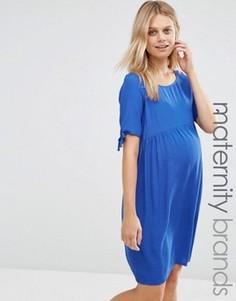 Короткое приталенное платье со шнурком Mamalicious - Синий Mama.Licious