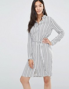 Платье-рубашка в полоску с поясом Soaked in Luxury - Мульти