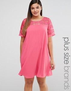 Цельнокройное платье с сетчатой вставкой Lovedrobe - Розовый