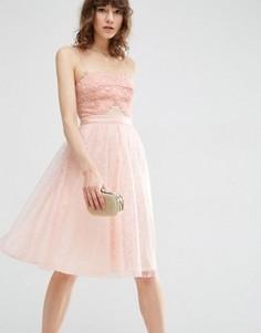 Кружевное приталенное платье миди ASOS - Розовый