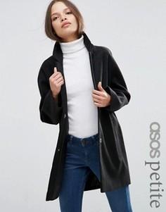 Пальто-кокон в мальчишеском стиле ASOS PETITE - Черный