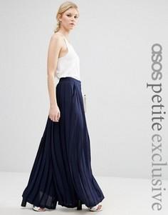 Широкие плиссированные брюки ASOS PETITE - Темно-синий