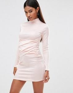 Облегающее платье с высоким воротом и запахом спереди Club L - Розовый