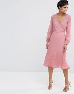 Плиссированное платье с запахом ASOS Occasion - Розовый