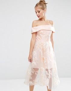 Светло-бежевое платье миди из органзы с цветочной отделкой ASOS - Мульти
