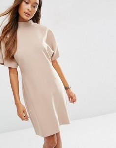 Платье-футляр с высокой горловиной и короткими рукавами ASOS - Розовый