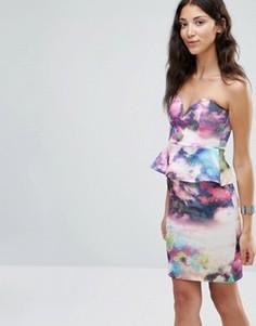 Платье мини с вырезом сердечком и баской Twin Sister - Мульти