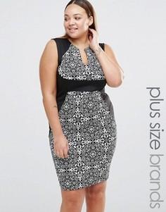 Платье-футляр с V-образным вырезом и контрастным поясом Praslin Plus - Черный