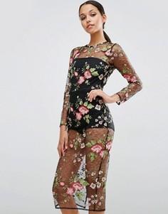 Облегающее платье из сетчатого кружева с цветочным рисунком и боди ASOS - Черный