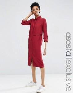 Платье-рубашка миди с асимметричными оборками ASOS TALL - Красный