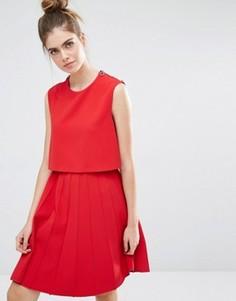 Платье со складками Sportmax Code - Красный