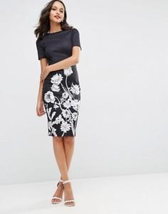 Облегающее платье миди с монохромным цветочным принтом ASOS - Черный