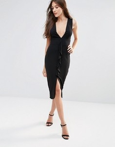 Платье миди без рукавов с оборкой Hedoina - Черный Hedonia