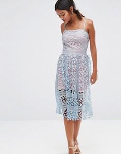 Кружевное платье миди Boohoo Exclusive - Синий