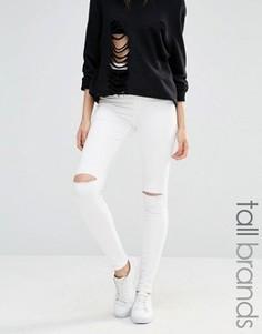 Суперстретчевые джинсы скинни с рваной отделкой и завышенной талией Missguided Tall Vice - Белый
