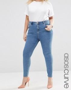 Зауженные выбеленные джинсы с завышенной талией ASOS CURVE - Синий