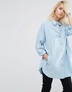Мягкая саржевая oversize‑рубашка ASOS - Синий