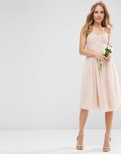 Присборенное платье миди ASOS WEDDING - Розовый