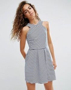 Короткое приталенное платье в полоску d.RA Rosalie - Синий