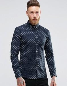 Темно-синяя рубашка скинни в горошек ASOS - Рыжий