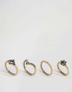 4 винтажных наборных кольца с камнями ASOS - Серый