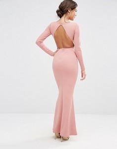 Платье макси c открытой спиной и длинными рукавами Missguided - Розовый