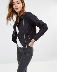 Байкерская куртка из искусственной кожи Noisy May - Черный