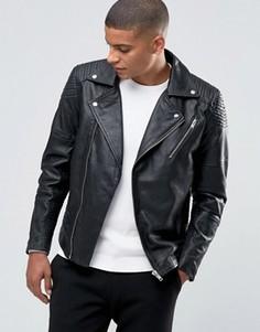 Кожаная байкерская куртка Selected Homme - Черный
