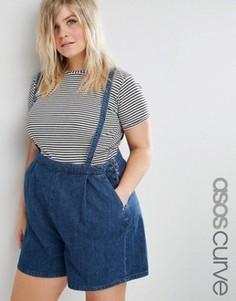 Джинсовые шорты со съемными подтяжками ASOS CURVE - Синий