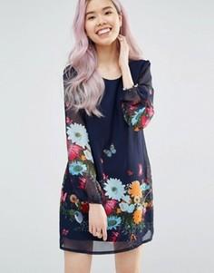 Цельнокройное платье с длинными рукавами и цветочным принтом Yumi - Темно-синий