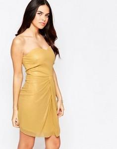 Платье мини бандо VLabel Honey - Золотой