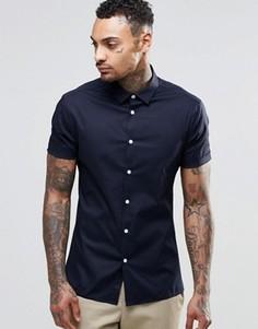 Зауженная синяя рубашка с короткими рукавами ASOS - Темно-синий