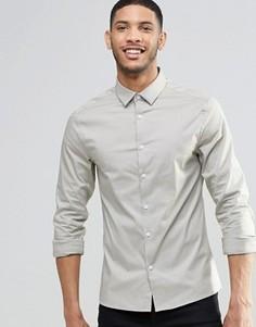Рубашка скинни с длинными рукавами ASOS - Stone