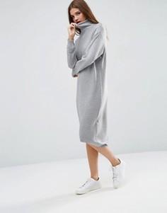 Вязаное платье миди с высокой горловиной ASOS - Серый