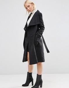 Пальто из шерстяной смеси с воротником-трубой и поясом ASOS - Черный