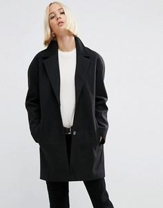 Пальто-кокон в мальчишеском стиле ASOS - Черный